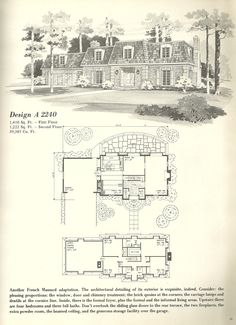Vintage House Plans, 1970s Exaggerated Mansard style has a ... on