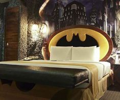 Live like the caped crusader on your next vacation by staying in the Batman themed hotel room. Complete with a Bat symbol headboard, Batman themed everything,...