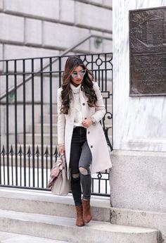 Topshop jeans 25x30, Prada bag , J.Crew coat  00p, Talbots sweater (old; similar )   Ann Taylor scarf  + beanie  c/o, Sam Edelman boots  ...
