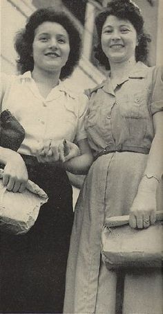 LIFE: May 22, 1944; Hatfields and McCoys now fight together in the Army, work together in mines and factories in their oldtime feuding territory. Above: Shirley Hatfield, 17 (left), and Mrs. Frankie McCoy Wellman, who make uniforms at a plant in Huntington, W.Va.