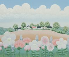 Village and flowers IV Ivan Rabuzin Ivan Rabuzin, Drawing Sketches, Drawings, Naive Art, Art Pages, All The Colors, Home Art, Flower Art, Illustration Art