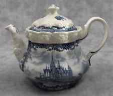 BLUE & CREAM TRANSFERWARE VICTORIAN COUNTRY TOILE TEAPOT Embossed FLORAL…