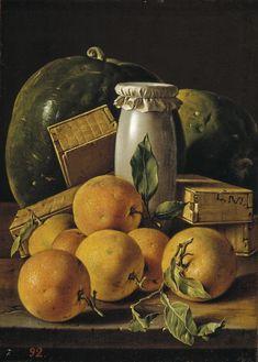 AutorMeléndez, Luis EgidioTítuloBodegón con naranjas, sandías, melero y cajas de dulcesCronologíaHacia 1760  ____  http://www.museodelprado.es/coleccion/galeria-on-line/galeria-on-line/obra/bodegon-con-naranjas-sandias-melero-y-cajas-de-dulces/  ____  http://www.museodelprado.es/imagen/alta_resolucion/P00910.jpg