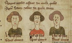 Portrait Busts of Margaret, Isobel, and Ada of Huntingdon; - Images from Medieval and Renaissance Manuscripts - The Morgan Library & Museum Medieval Hairstyles, Morgan Library, 14th Century, Renaissance, England, Museum, Comics, History, Portrait