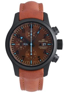 Fortis B-42 Blue Horizon Chronograph PVD Limited Edition 656.18.95 L.38 Leather Box, Brown Leather, Ring Armband, Two Dots, Limited Edition Watches, Metal Bracelets, Omega Watch, Chronograph, 18th