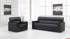 Appealing design ideas of home office furniture outlet used fetching with black colored sofa and chair Modern Home Office Furniture, Modern Sofa, Office Sofa, Office Chairs, Elegant Sofa, Couch Furniture, Furniture Outlet, Office Interior Design, Sofa Design