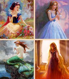 The wonderfully amazing Lisa Keene painted these, and I think they're lovely.   Snow White, Cinderella, Ariel, and Rapunzel! She's SO t@lented!!!