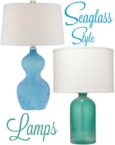 Add The Frosted (weathered By Ocean Waves) Seaglass Look To Your Home With  These Table Lamps.