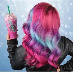 """UNICORN FRAPPUCCINO?! UNICORN HAIR!"" Thanks Starbucks! Hair by @caitlinfordhair #hotforbeauty  .  .  .  .  .  #unicornfrappuccino #unicornhair #starbucks #starbucksunicorn"