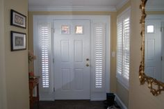 Sidelite shutters.  These are shutters that are made for the narrow windows next to a door. Great for privacy and security as well as home decor.