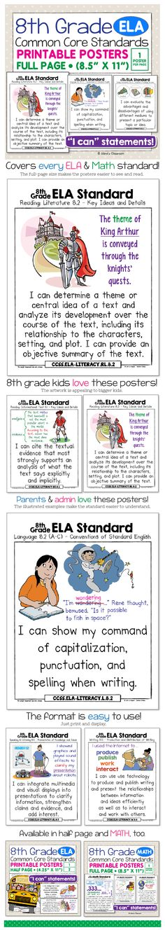 8th grade ela common core standards posters bring the english language arts standards to life