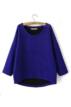 aa70dba362f73f SHEIN offers Blue Round Neck Half Sleeve Knit Sweater   more to fit your  fashionable needs.