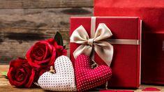 Róże, Serca, Walentynki, Prezent, Kokarda, Deski