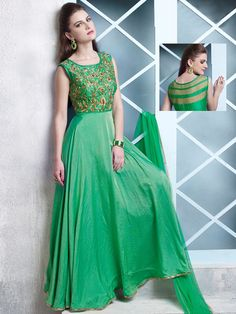 Anarkali Green Cotton Silk Party Wear Embridered Salwar Suit  Product Code: G3-WSS12940 Fabric: Cotton Silk Color: Green