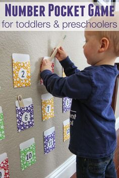 Pocket Game for Toddlers and Preschoolers Toddler Approved!: Number Pocket Game for Toddlers and PreschoolersToddler Approved!: Number Pocket Game for Toddlers and Preschoolers Toddler Learning Activities, Toddler Preschool, Fun Learning, Preschool Activities, Learning Numbers Preschool, Educational Games For Toddlers, Toddler Learning Games, Preschool Number Activities, Learning Activities For Toddlers