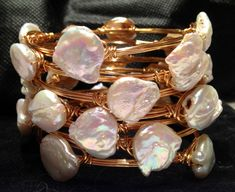 Freshwater Pearl wire wrapped bracelets by EmilyGailCollections, $25.00