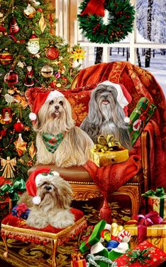 Lhasa Apso - Christmas Helpers - by Margaret Sweeney