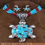 Turquoise and Multicolor Sterling Silver Turtle Pendant Necklace and Earring Jewelry Set