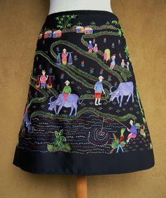 Asian souvenir embroidery skirt, farmland scenes, A-line skirt, lined, black multi colored, size Medium