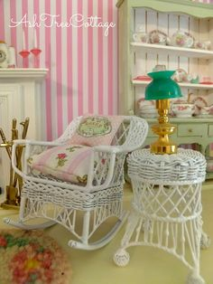 Big Reveal of the Texas Rosebud Miniature Townhouse Furniture Board, Wicker Furniture, Miniature Rooms, Miniature Furniture, Dollhouse Furniture Sets, Shabby Chic, Ash Tree, Morning Thoughts, Long Holiday