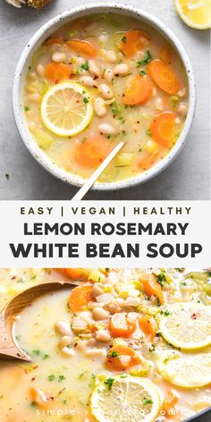 Veggie Recipes, Soup Recipes, Whole Food Recipes, Vegetarian Recipes, Cooking Recipes, Healthy Recipes, Recipies, White Bean Soup, White Beans