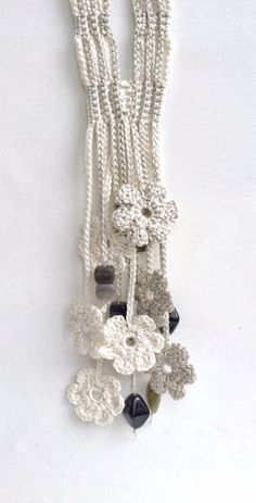 Limestone and cream flowers long beaded crochet necklace