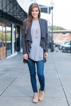 """""""Stay Chic Cardigan, Slate"""" This cardi has no other choice but to stay chic! It's classically chic! It's one of those things that will just never go out of style!  #newarrivals #shopthemint"""