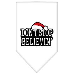 Dont Stop Believin Screen Print Bandana White Small