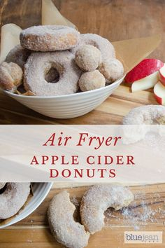 Air fryer recipes This is the best homemade Apple Cider Doughnut recipe you will find. They are so easy and a perfect fall treat with a cup of coffee. Air Fryer Oven Recipes, Air Fry Recipes, Donut Recipes, Dessert Recipes, Desserts, Air Fryer Recipes Donuts, Ninja Recipes, Fall Recipes, Churros