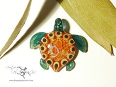 Golden Sun Turtle - Glass Art Necklace by Creative Flow Glass