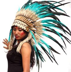 Green indian headdress short length feather by etnikabali on Etsy