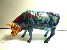 COW PARADE 2002 SUMMERTIME #7464 LARGE CERAMIC FIGURINE,RETIRED & HARD TO FIND! #CowParade
