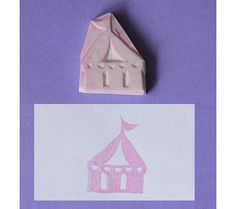 Tent Hand Carved Rubber Stamp / Circus handmade stamp by theKeris, $5.75