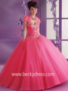 2015 Style Ball Gown Sweetheart Floor-length Tulle Prom Dresses