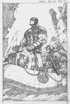 Amazing Pencils by Joe Madureira of Captain America by Joe Madureira. Artwork for InHuman No. 2