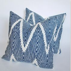 PAIR Indigo Blue Ikat Chevron Decorative Pillow Cover 18x18, 20x20 Square Throw Pillow, Accent Pillow, Toss Pillow on Etsy, $56.00