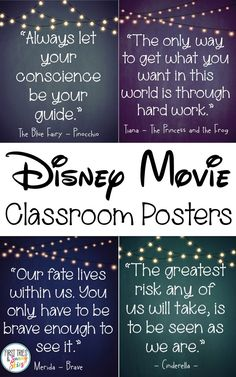 Disney Movie Quotes Posters - Inspirational Walt Disney Quotes - Bring the magic and wonder of your favorite Walt Disney movies into your classroom with this cute set of inspirational quotes posters. Each poster beautifully displays a motivational quote f Disney Classroom, Classroom Quotes, Classroom Posters, Classroom Themes, Future Classroom, Classroom Organization, Walt Disney Movies, Classic Disney Movies, Walt Disney Quotes
