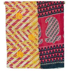 Kantha Quilted Recycled Sari Throw - Red Chevron