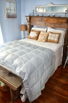 Mantel Headboard from a porch post, fence boards and barn wood ! Guest Bedroom Decor, Master Bedroom, Bedroom Retreat, Guest Room, Bedroom Ideas, Mantle Headboard, Shabby Chic Antiques, Bedroom Vintage, Shabby Bedroom