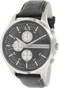 cool Chronograph Black Dial Black Leather Mens Watch AX2153 - For Sale
