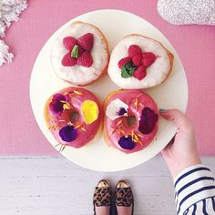 Razzy Lemon Lu-Lu & Donut with Edible Flowers // made by the Donut Snob, photographed by designlovefest