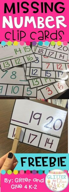 Missing number clip card freebie! Perfect for math centers!This includes 24 clip cards with missing numbers from 0-20. It includes 2 numbers in a series with a line for the missing number number. Students will clip the missing number. Keywords: math, early numeracy, number sense, kindergarten, counting, clip cards, fine motor, independent centers, first grade, AIMSweb, missing number. by janelle