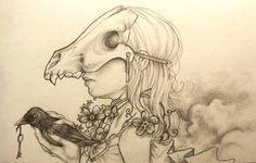 crow drawing sketch | Crow Skull Drawing Crow bird skull drawing sketch