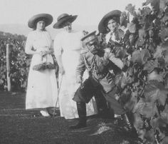 """Picking grapes"".  I love these candids of royals, not posing for the camera! Tsar Nicholas II with daughters Gdss Tatiana and Olga Nicholaevna and Tsarina Alexandra´s lady in waiting Anna Vyubrovna."