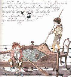 """Klaus Ensikat illustration for """"Die Geschichte von den vier kleinen Kindern, die rund um die Welt zogen""""."""