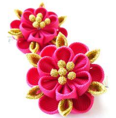 Kanzashi fabric flowers. Set of 2 hair clips. Fushia and by JuLVa, $13.50
