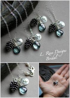 Brautjungfer Halsketten Geschenk-SET Pinecone von LRoseDesigns