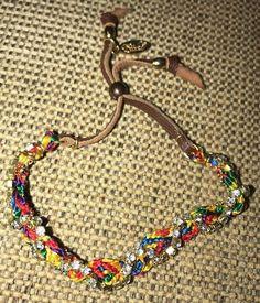 "Ettika Gold Crystal Friendship Bracelet Rainbow Leather Celebrity Boutique 9""  | eBay"