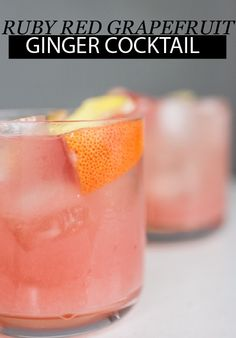 This Ruby Red Grapefruit Ginger Cocktail is refreshing and crisp. Serve up this easy drink recipe at your next girls night in!