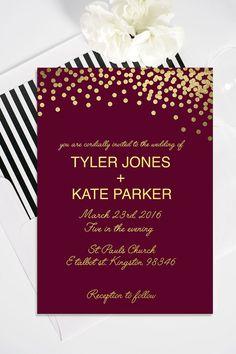 Gold Polka Dot Wedding Invitation with RSVP Card